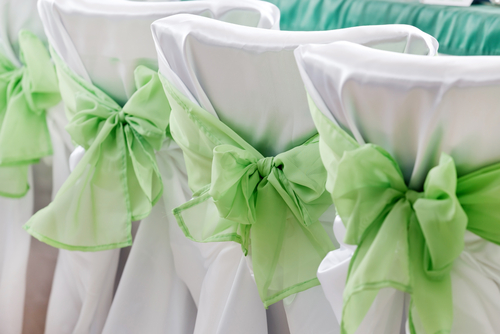 Mint green organza sash on white satin tieback