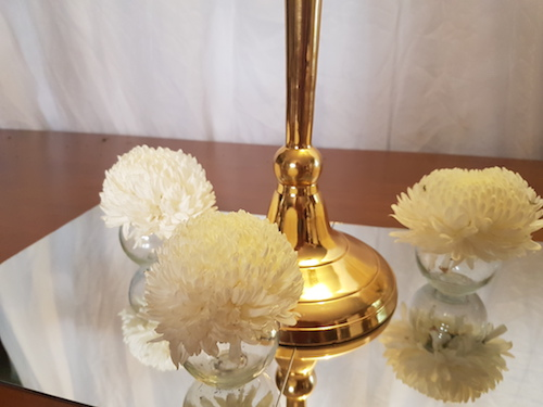 Gold Candelabra on Square Mirror Base with Fishbowl tealights with floral accents