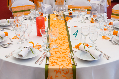 orange flocking table runner