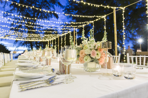 warm fairy light canopy