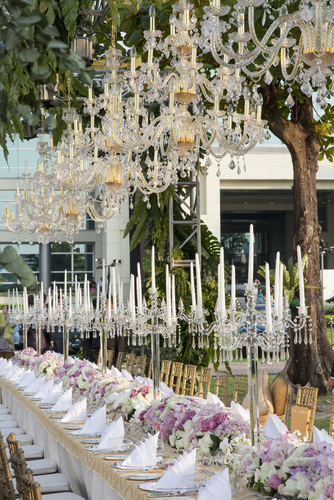 white palais chandelier for outdoor wedding reception