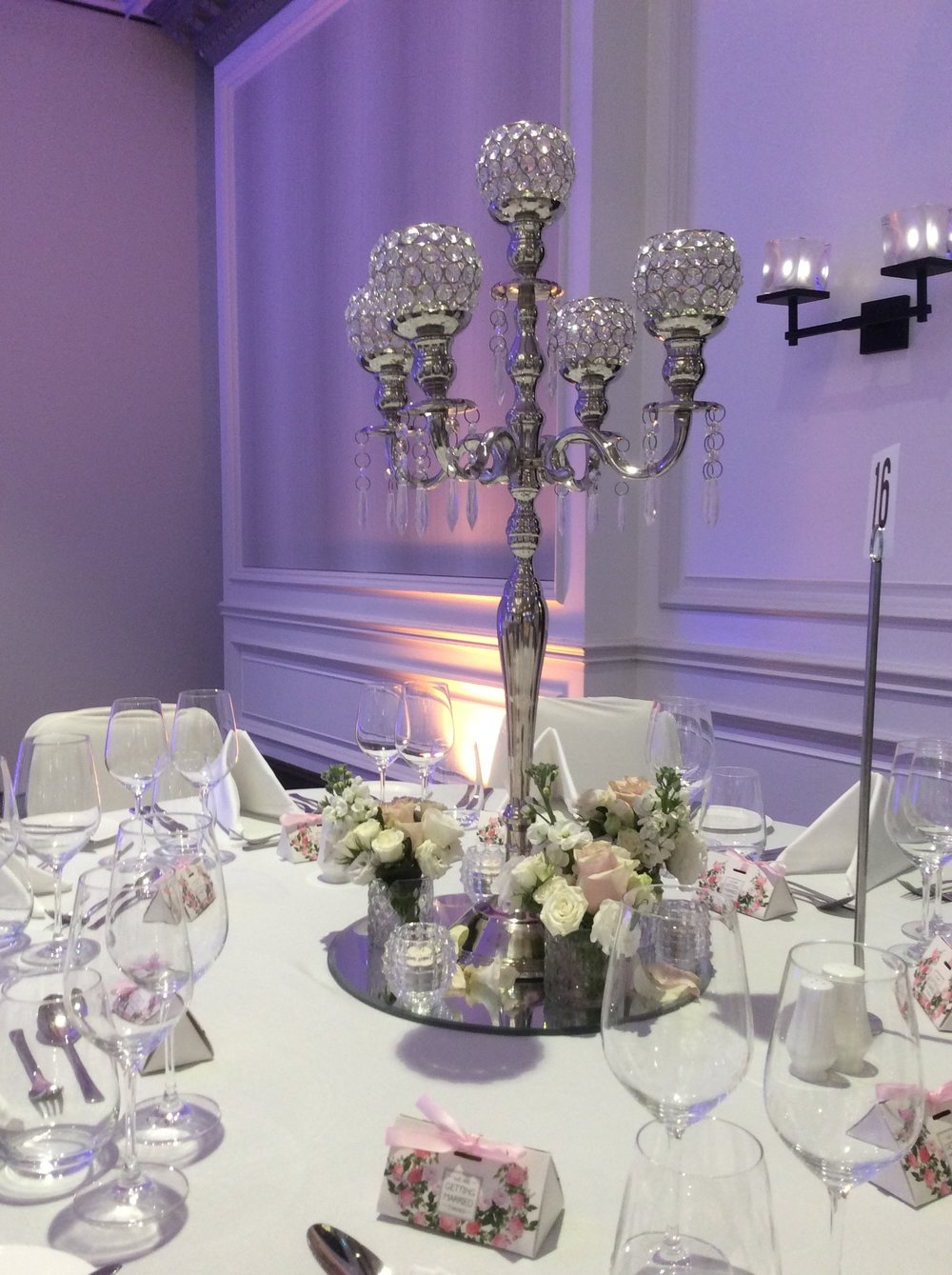 floral crystal centrepiece package for hire in sydney, north coast, south coast and blue mountains
