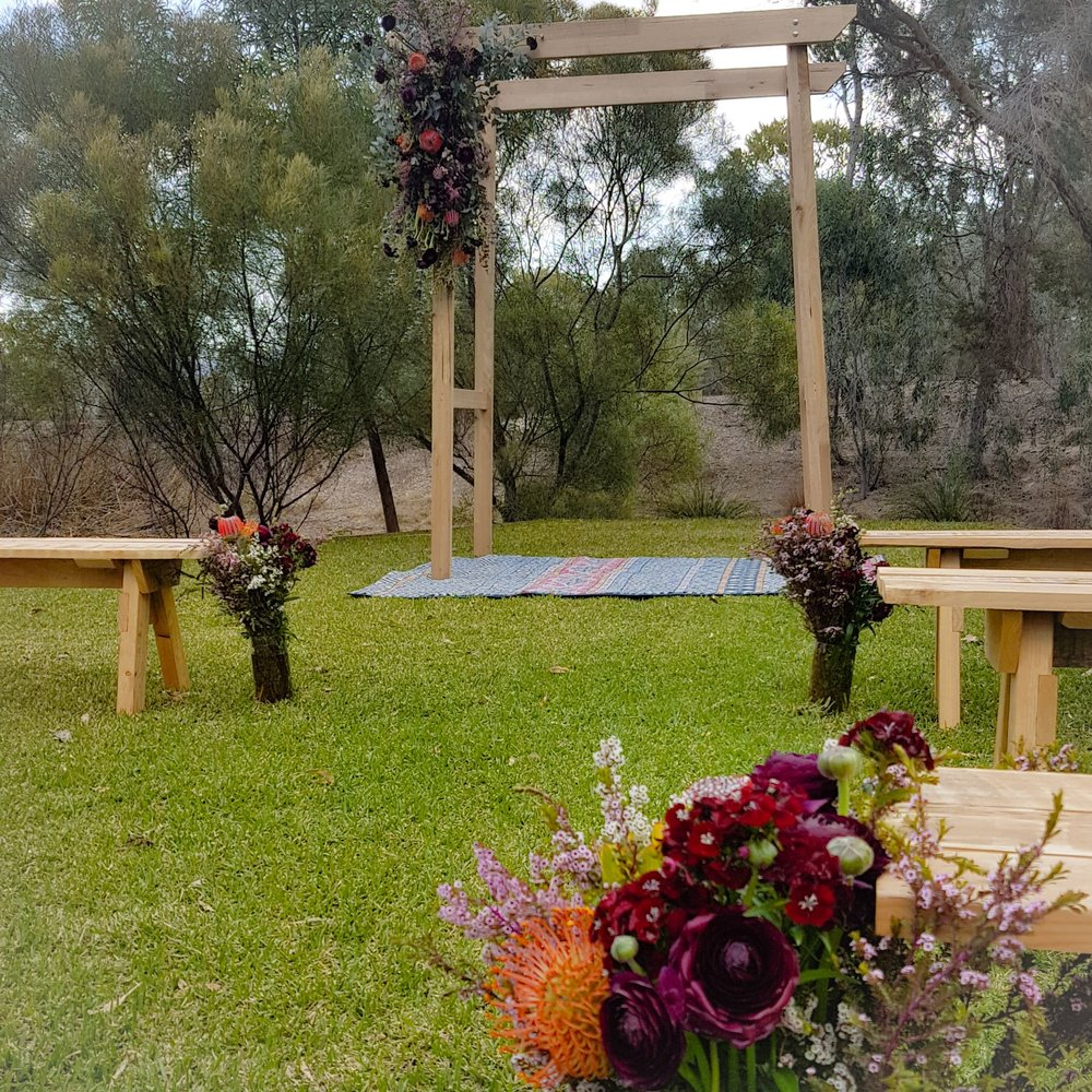 boho ceremony styling @ Mt Annan Botanic gardens