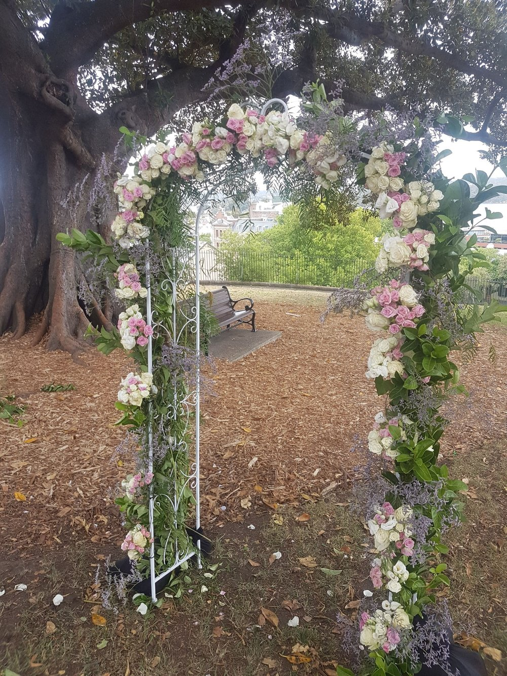 floral ceremony arch with lavender accents @ observatory hill