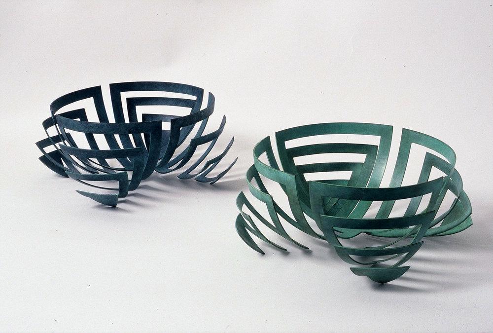 Large 'Nervous Bowls' in verdigris copper