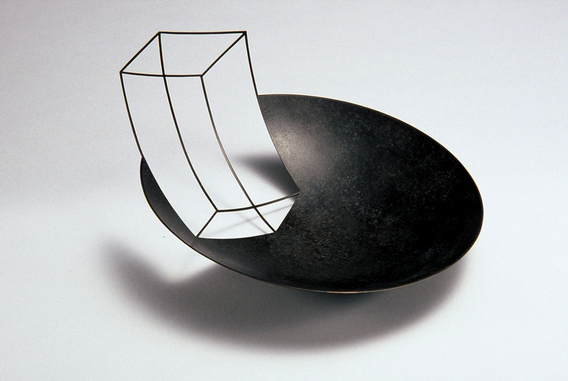 Cube 'Negative Bowl' patinated copper