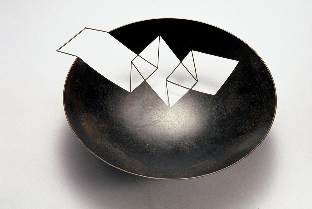 Zigzag 'Negative Bowl' patinated copper