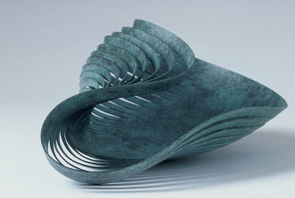 'Collapsed Bowl' in Verdigris copper