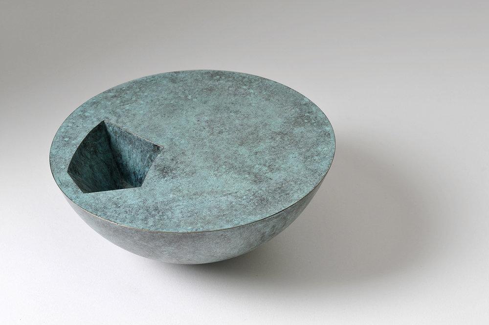 'Void Bowl' in verdigris copper