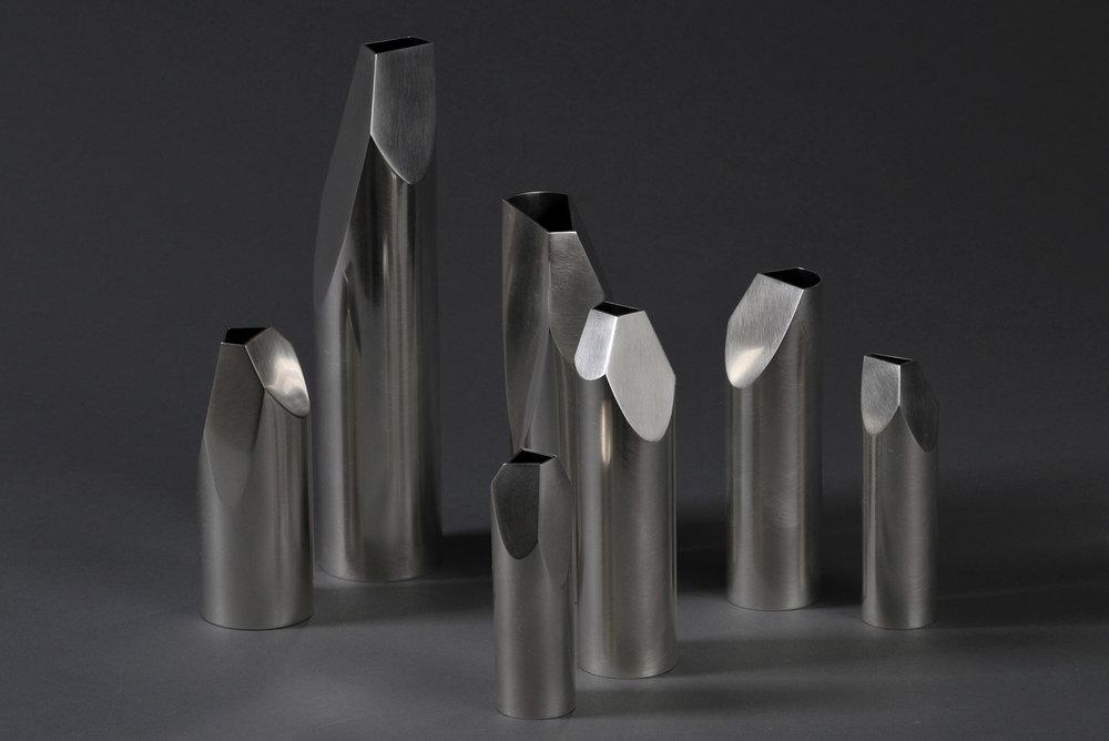 'Whittled Vases' in sterling silver