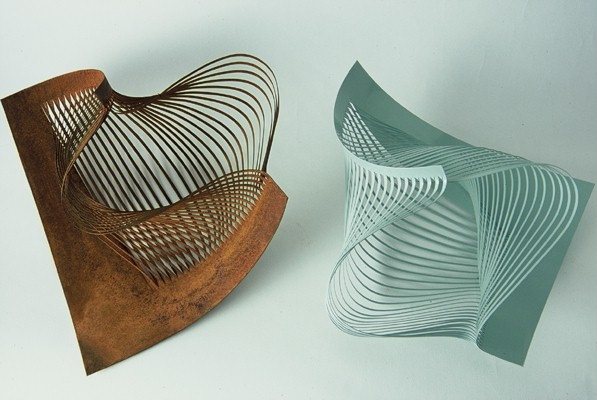 'Shredded Bowls' powder coated and weathered steel
