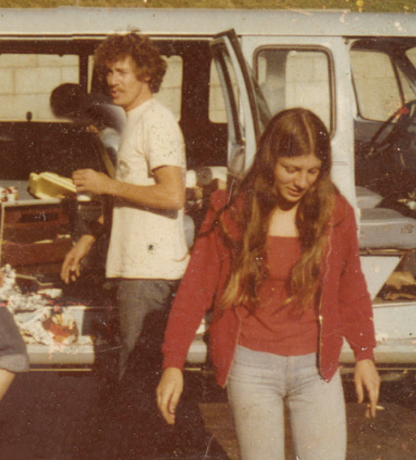 Sixteen-year old Dawn with John Holmes, summer 1977.