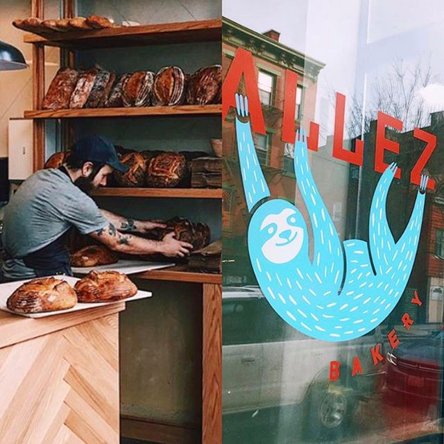 Very proud of my bro-in-law @freefoodtomorrow for opening @allezbakery. Just look at those loaves! Very proud to see my past students' ( @hellohandzy ) identity work on the door. That typography is providing a sturdy branch for that dangling sloth! And, always very proud of husband @8kconstructionco for yet another beautiful job.