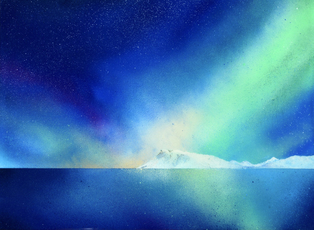 "Brilliant Earth | Spray paint + resin on wood panel | 12 x 16"" | 2016"