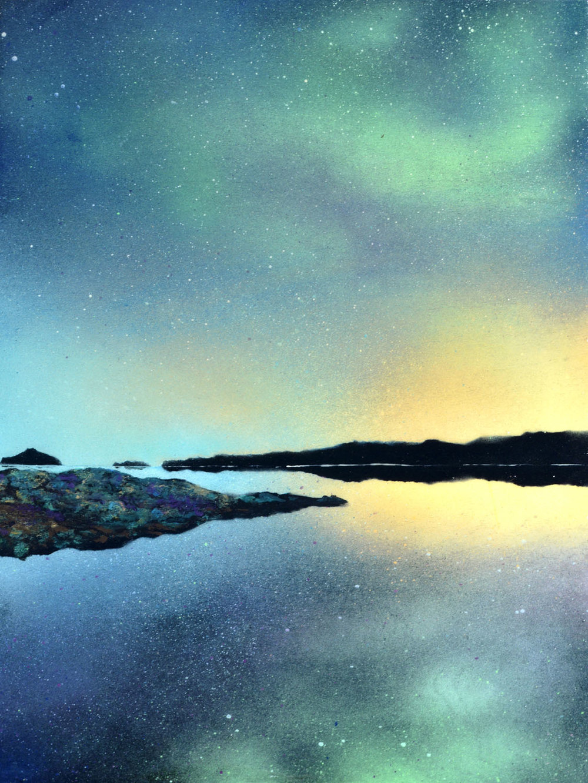 "Evening Light | Spray paint + resin on wood panel | 16 x 12"" | 2016"