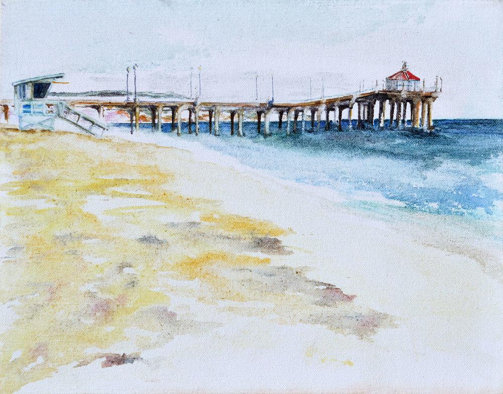 """Manhattan Beach • Watercolor on canvas ∙ 14 x 11"""" ∙ 2015"""