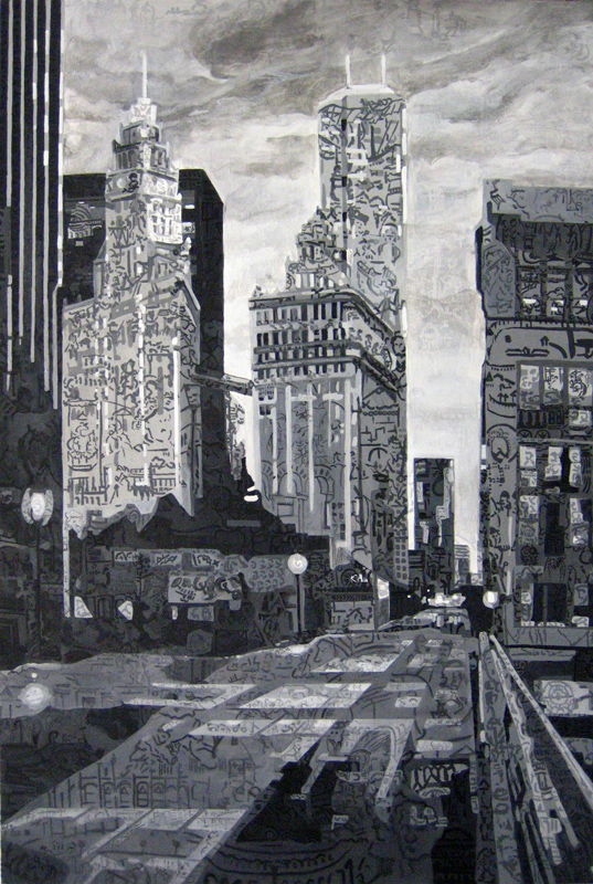 "Chicago • Oil + acrylic on wood panel ∙ 48 x  72"" ∙ 2007"
