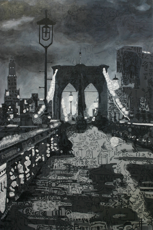 "Cityscape, New York City • Oil + acrylic on wood panel ∙ 48 x  72"" ∙ 2007"