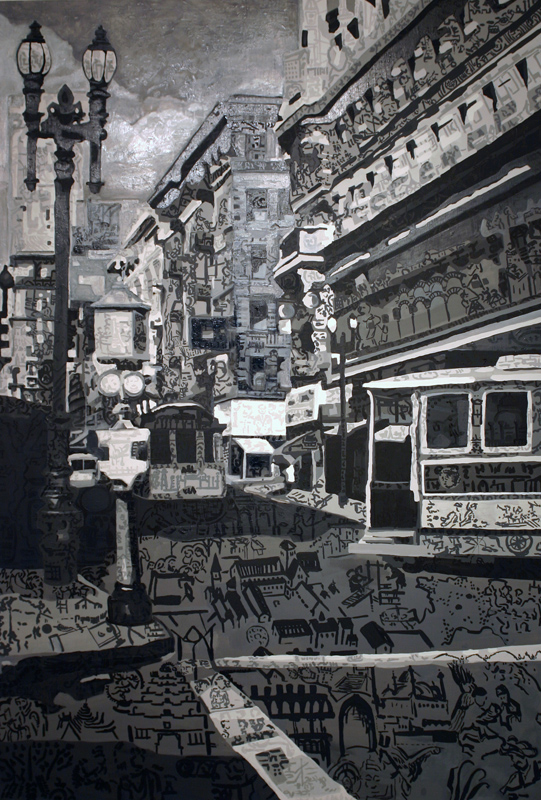 Cityscape, San Francisco | Oil + acrylic on wood panel | 48 x  72"
