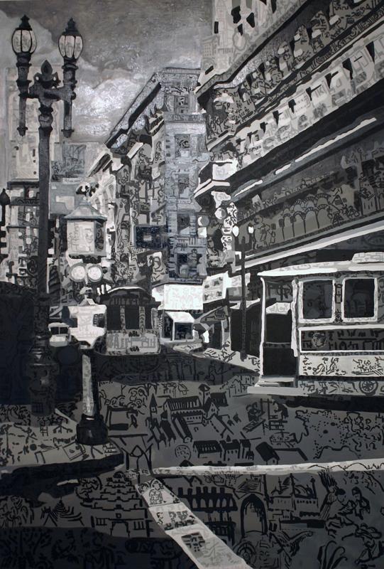 "Cityscape, San Francisco • Oil + acrylic on wood panel ∙ 48 x  72"" ∙ 2007"
