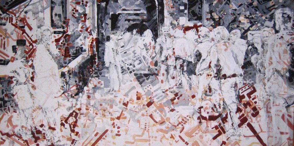 """Edinburgh • Mixed media on canvas ∙ 24 x 48"""" ∙ 2008"""