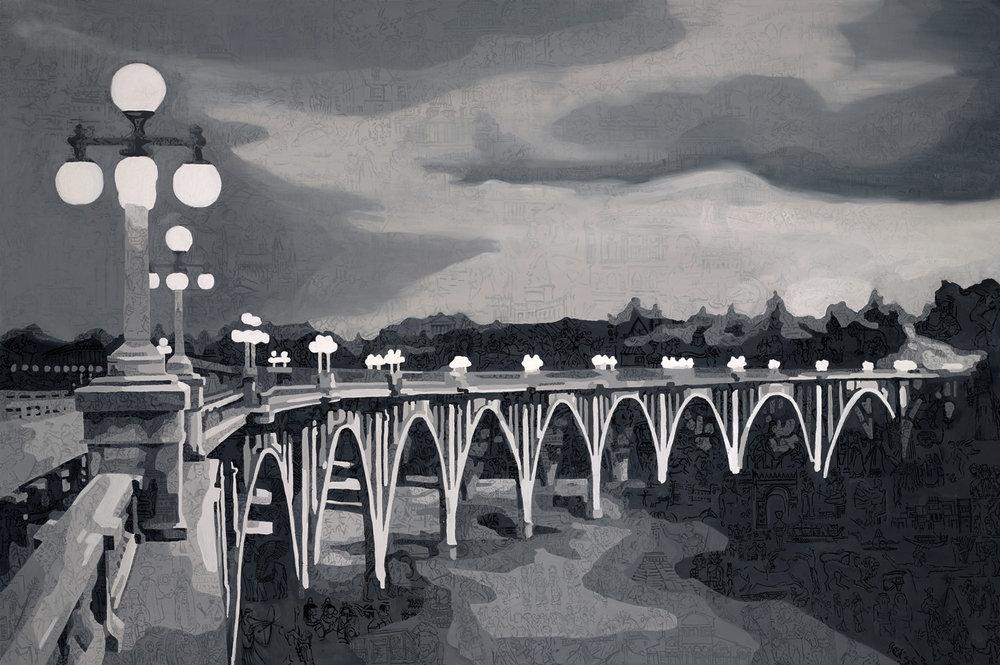 "Colorado Street Bridge • Oil on canvas ∙ 48 X 72"" ∙ 2014"