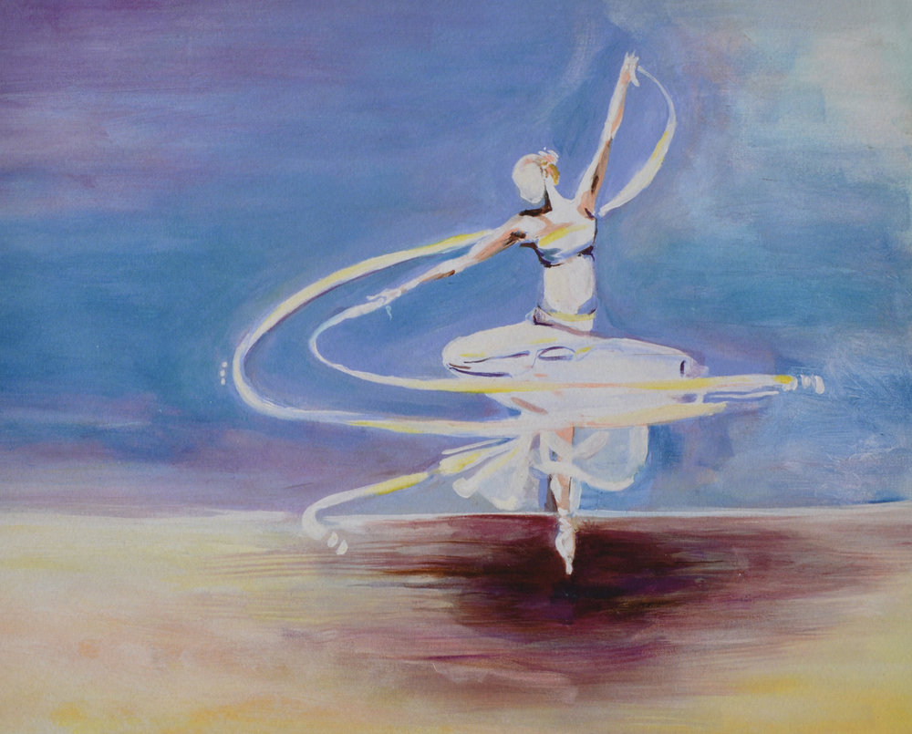 The Dancer | Oil + acrylic on canvas | 20 x 36 | 2012