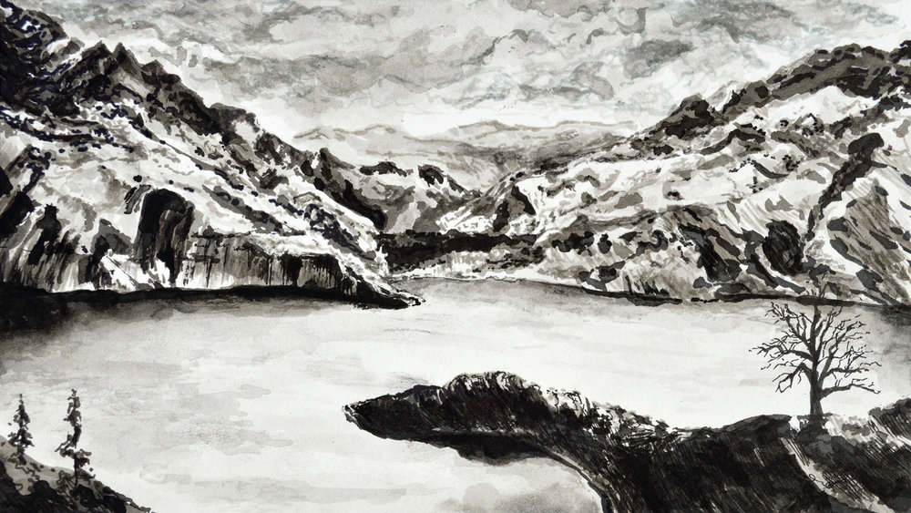 """The Lake • Ink and spray paint on paper ∙ 5 x 9"""" ∙ 2016"""