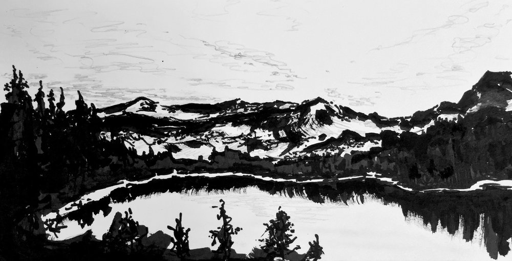 """Rockies • Ink and spray paint on paper ∙ 5 x 12"""" ∙ 2016"""