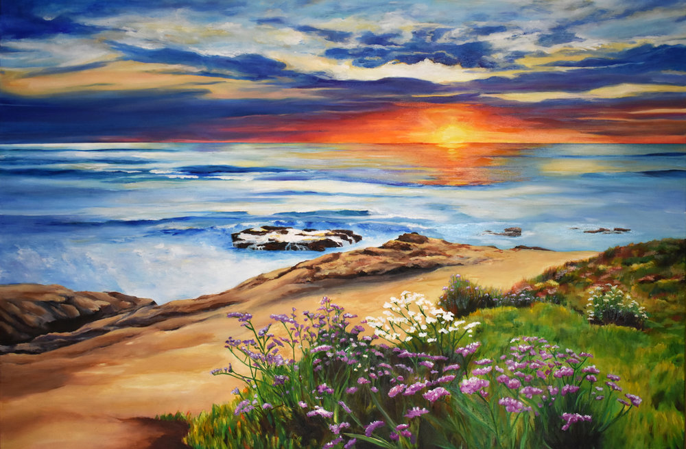 """California Sunset (Commission) • Oil on canvas ∙ 30 x 40"""" ∙ 2016"""