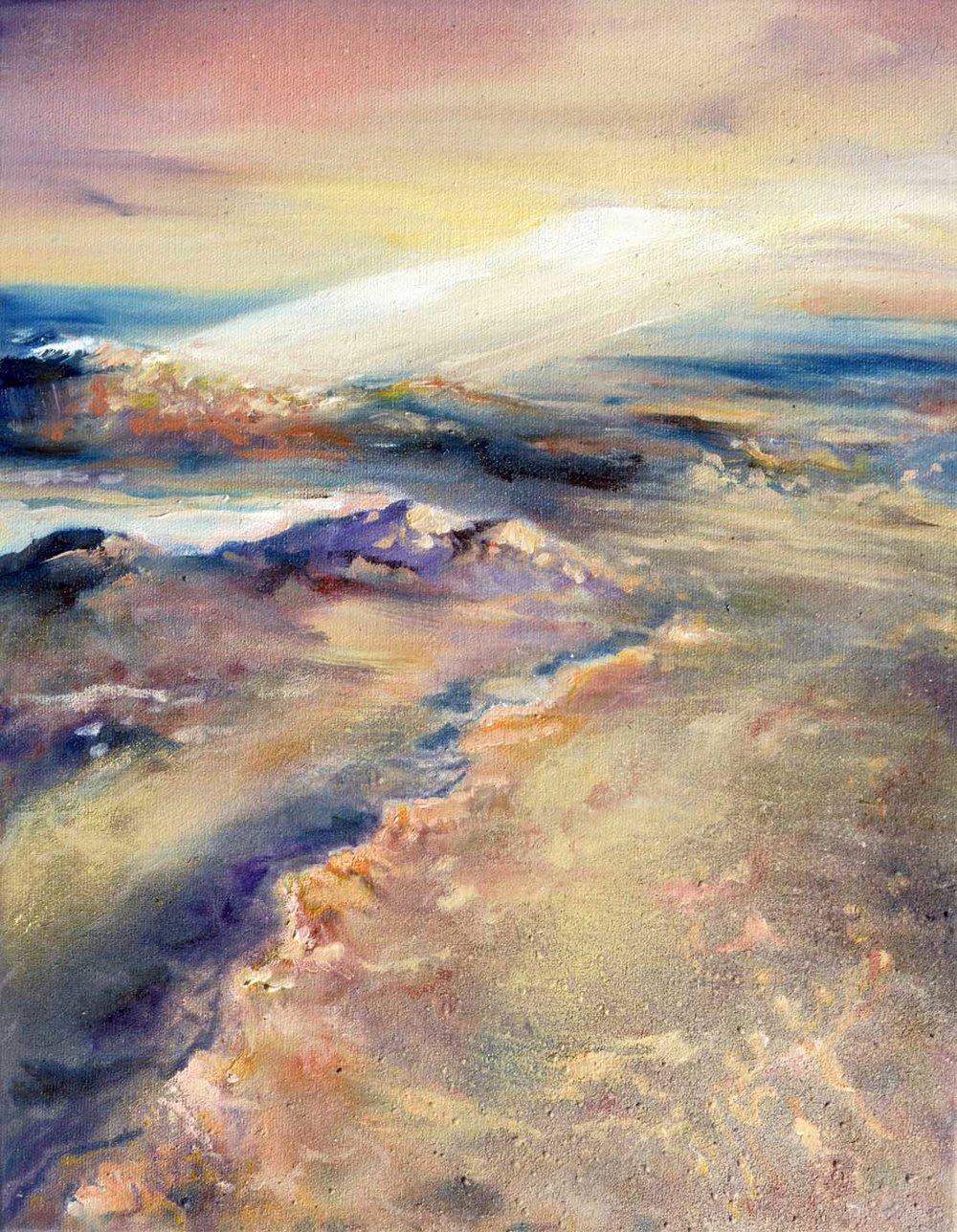 """Sunset Over the Desert • Oil on canvas ∙ 14 x 11"""" ∙ 2016"""