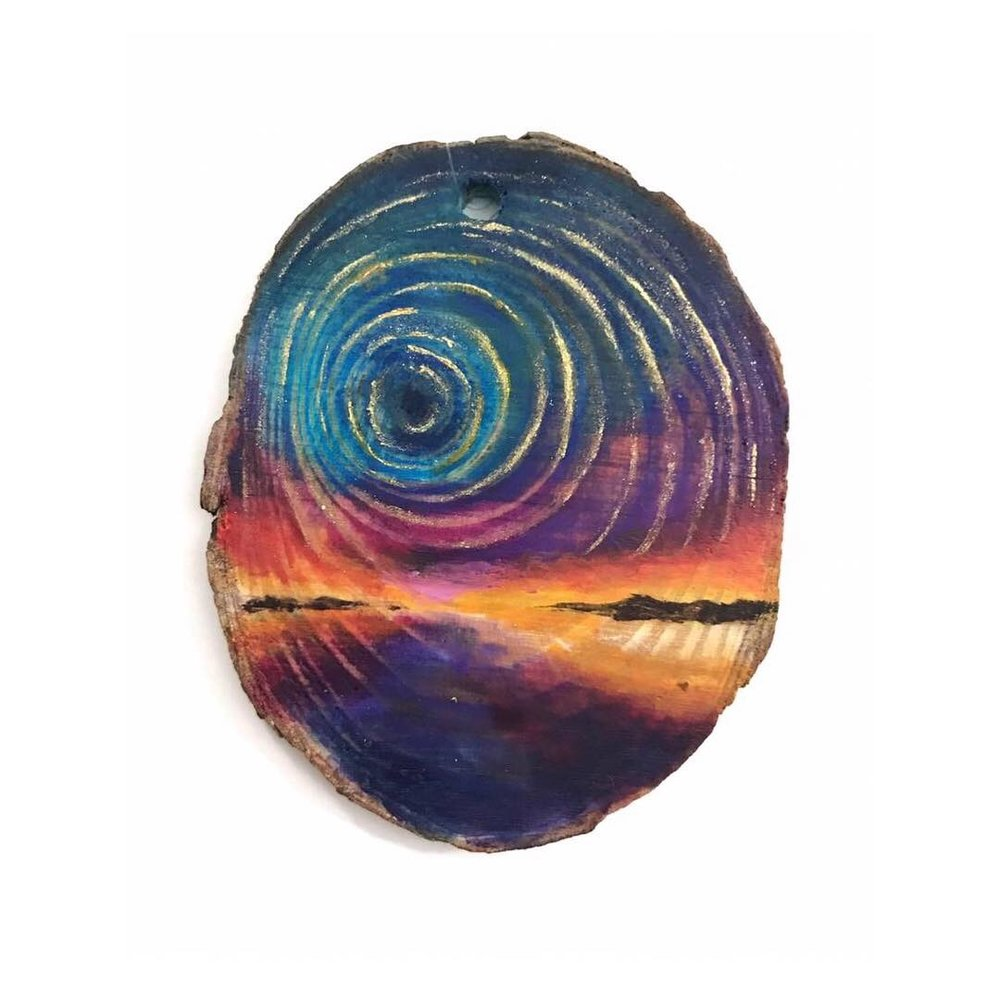 "Untitled • Oil + acrylic on wood ∙ 2.5 x 2.5"" ∙ 2018"