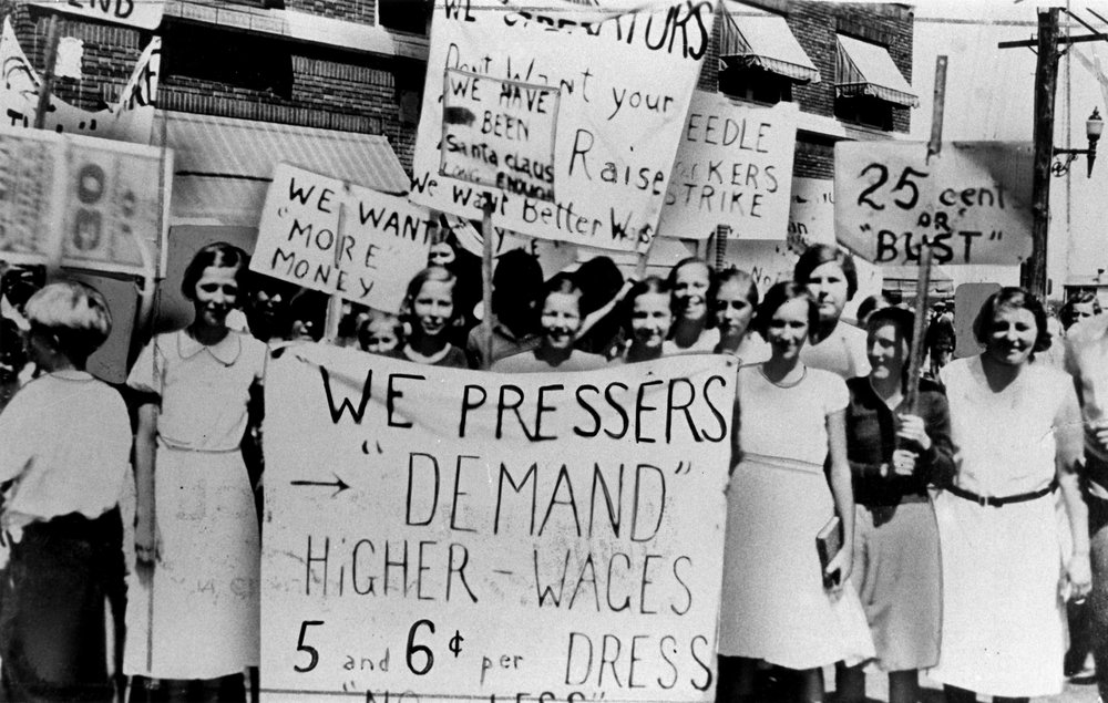 Protesters at an early Women's Day march