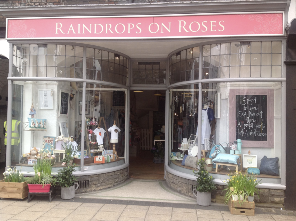 RAINDROPS ON ROSES, St Albans   This little gem of a store gives all their profits to Cancer Research. They snapped up our ketchups immediately from instagram back in Jan and judging by their ordering, have been spreading ketchup love ever since.