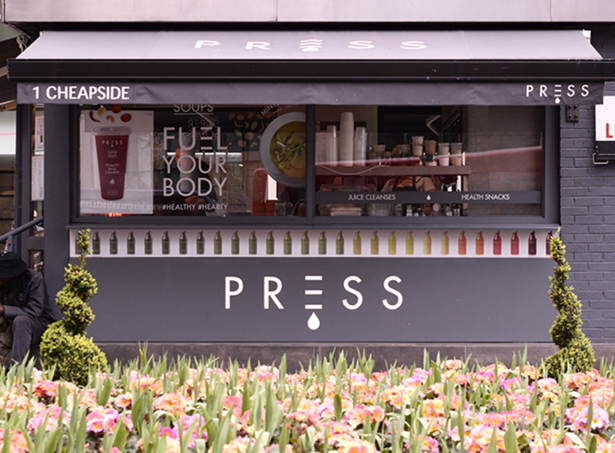 PRESS   A fresh Press Juice and a Peardrop wrap?  The perfect partnership.  Head to their kiosk in Selfridges or Press in St Pauls to pick one up and feel great about yourself all day.