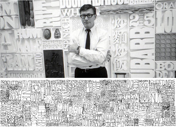 Dorfsman with his completed Gastrotypographicalassemblage and an early sketch.