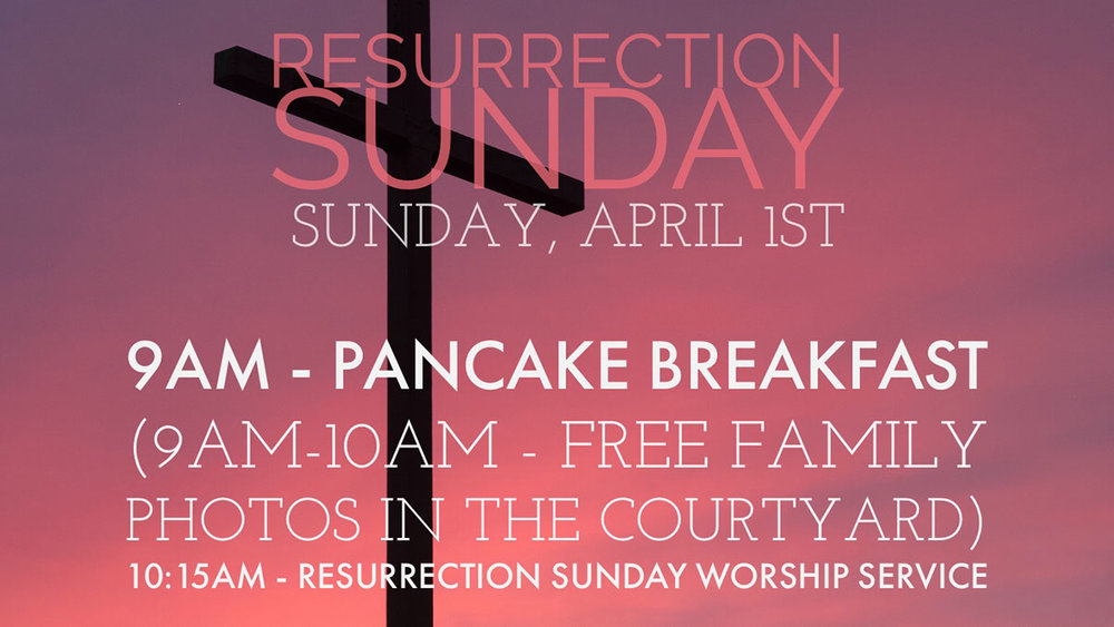 You are invited to join us in celebrating the resurrection of our Lord Jesus on Resurrection Sunday morning. At 9:00 am we will have a free pancake breakfast, followed by free family photos in the courtyard. Then, we will hear songs from the Children's & Adult Choirs as well as a Bible message from our Pastor, Dr. Ashley E. Ray. The service begins at 10:15 am in the Worship Center.