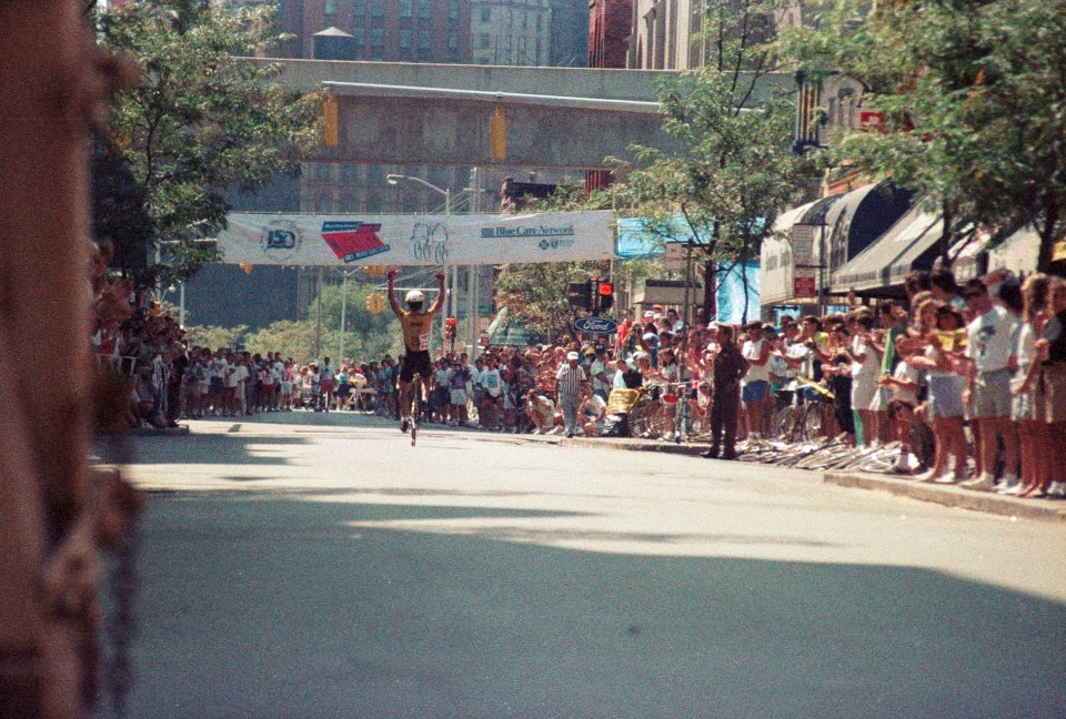 Tim Swift wins the final stage of the 1989 Tour de Michigan in Greektown - Detroit, MI.
