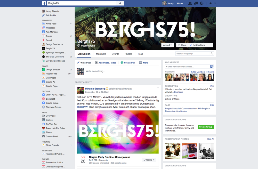 Berghs75 Group – on  Facebook