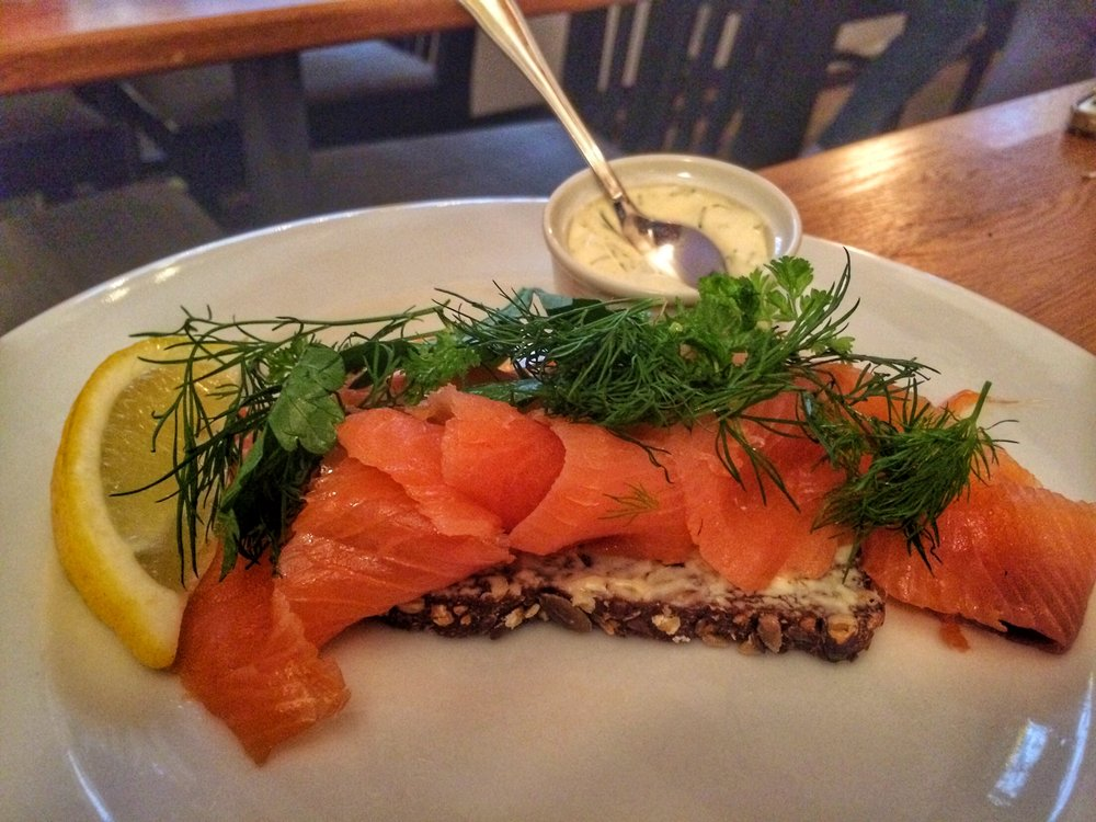 I got a smoked salmon  Smørrebrød - because eating smoked fish is Scandinavia is a MUST!