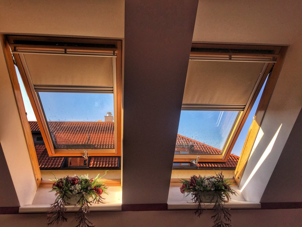 The windows in our Airbnb in Prague