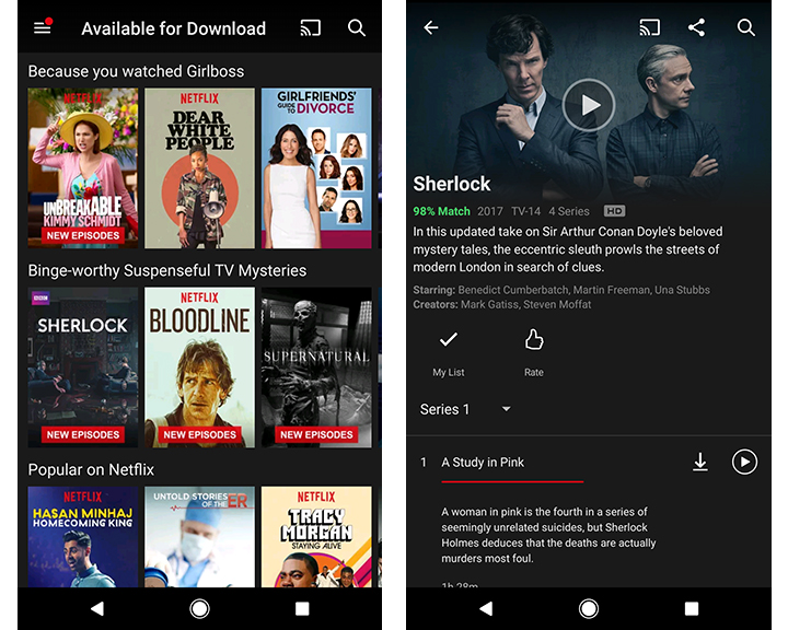 """TOP LEFT: Your Netflix home screen on your device  TOP RIGHT:  Your app menu which is where you can find what is """"Available to download"""" as well as a link to your downloads on your device (can be found via the hamburger menu at the top left of your screen)  BOTTOM LEFT:  Once you've clicked on """"Available to download"""" from your menu everything current will be listed out  BOTTOM RIGHT: After you choose and click on a show or movie to download on that item's page you will see a download arrow button. Once you click on this the item will begin downloading and once finished will appear in the """"My Downloads"""" section   TIP TO NOTE: Movies will have the download button towards the middle of the screen next to the """"rate"""" icon. TV shows will have the download button next to each episode - you cannot download an entire series or season at once."""