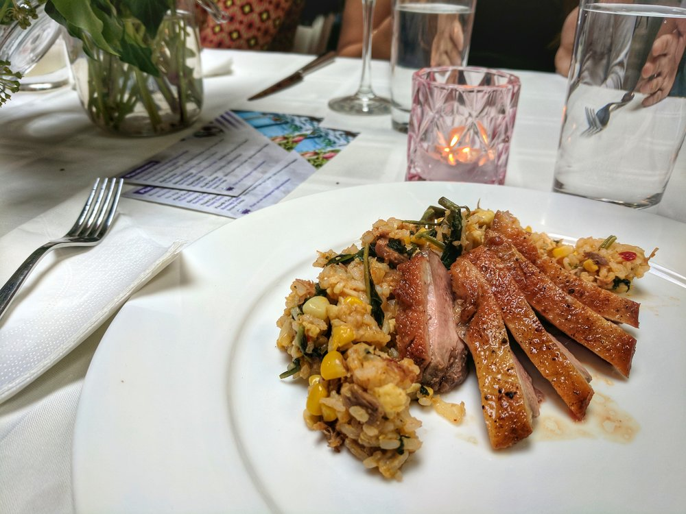 Third/Main Course: Roast duck with duck fat fried rice