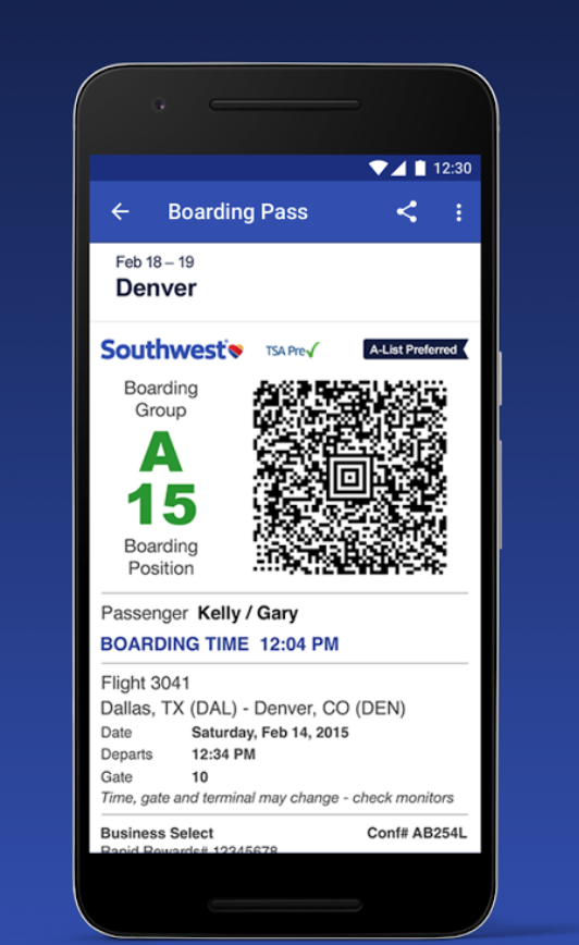 Southwest Airlines app via  Google Play store