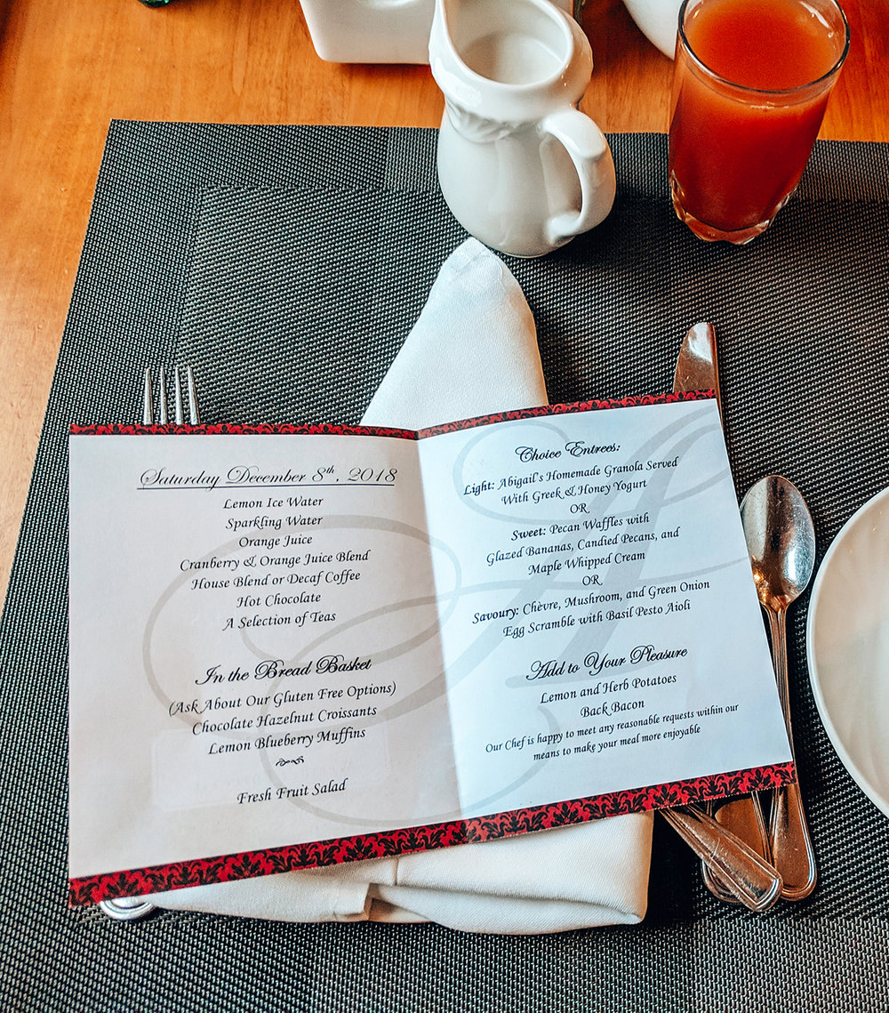 The menu for the 1st morning