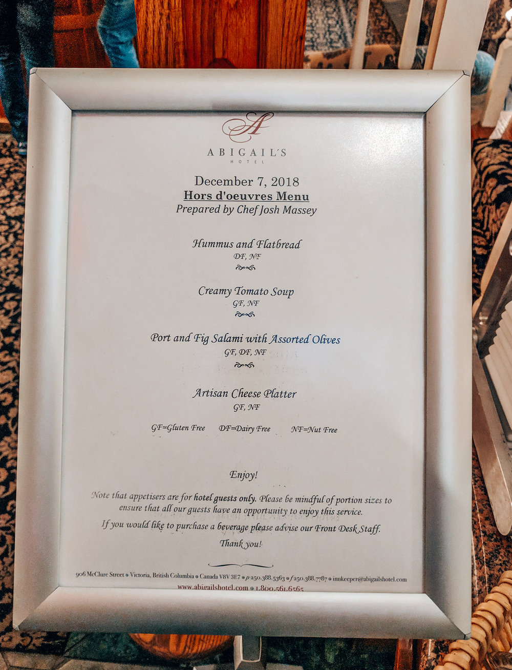 Menu for the 1st night appetizers