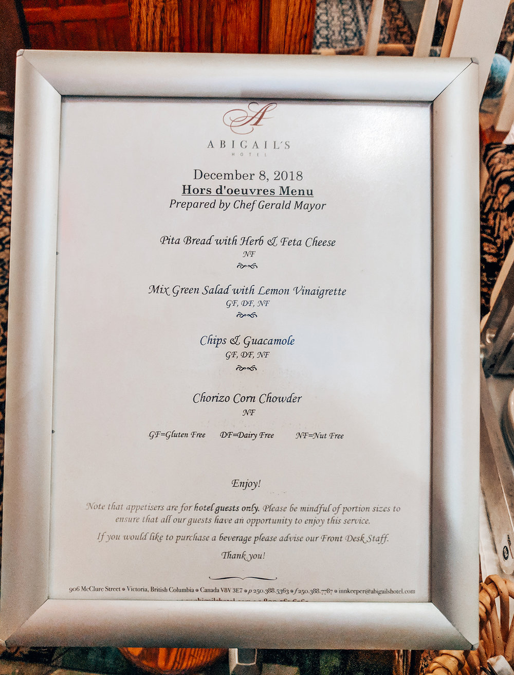 Menu for the 2nd night appetizers