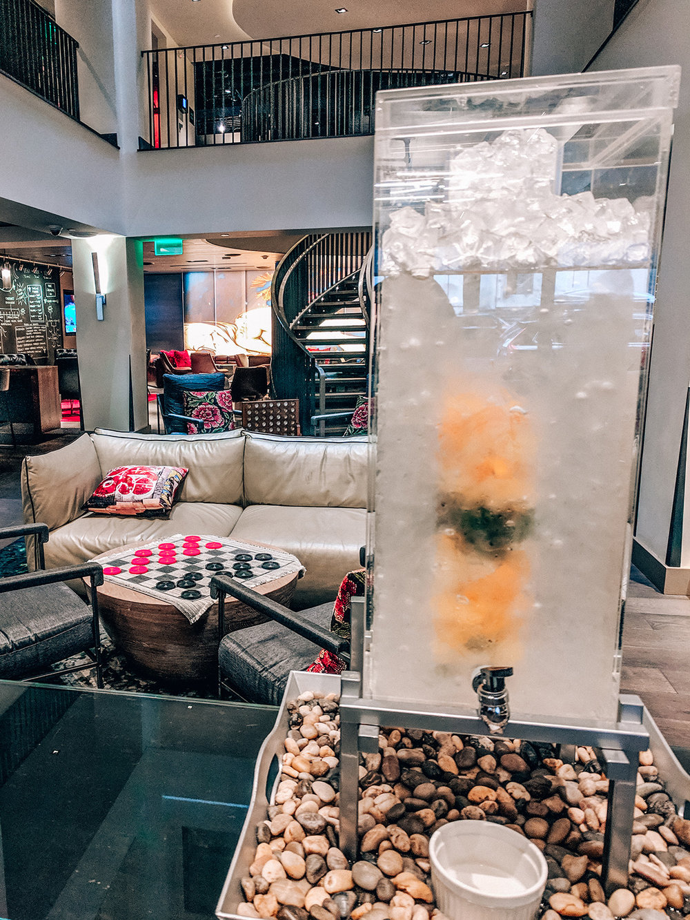 Hotel Vintage lobby infused water