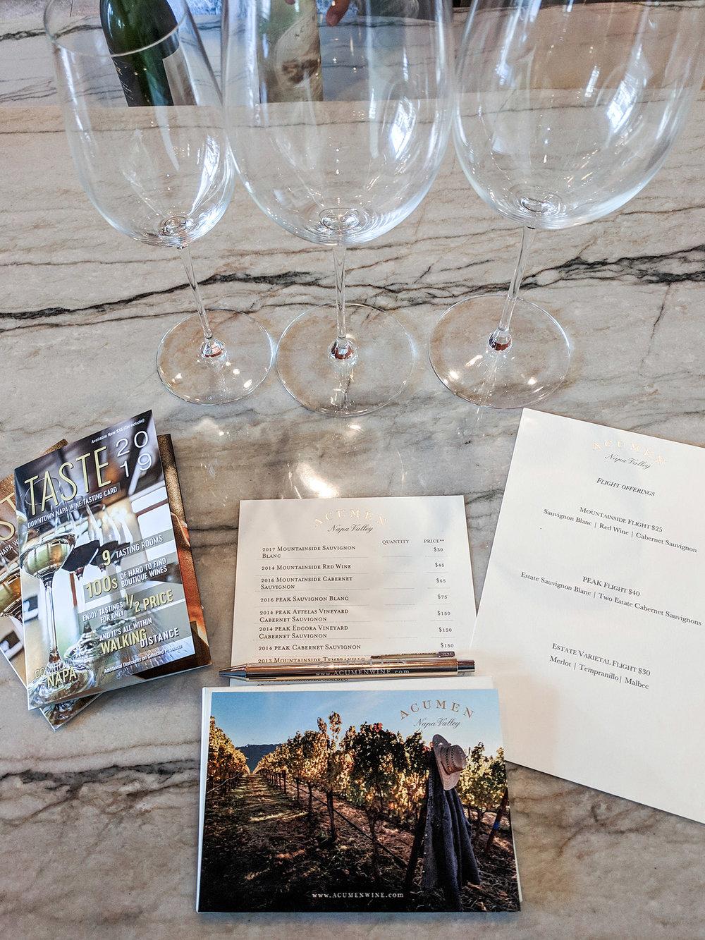 Acumen Wine Gallery tasting set up