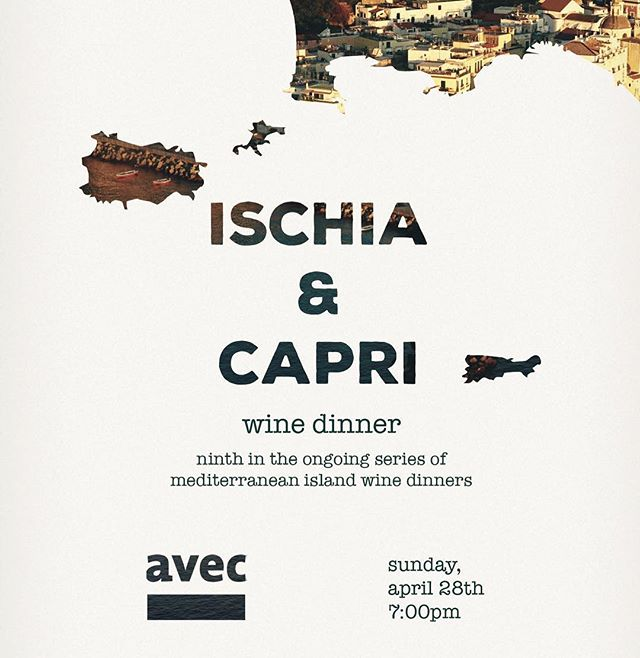 drink wine with us! april 28th at 7pm in our sexy 2nd floor dining room! @perryhendrix creates a menu to pair with the amazing wine from capri & ischia! $125 per person- for tickets go to avecrestaurant.com or see link in bio!